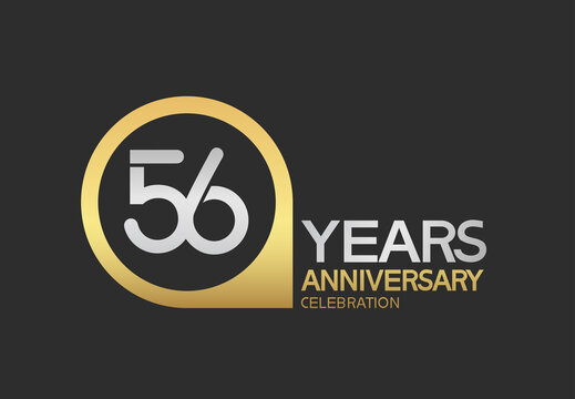 56 years anniversary celebration simple design with golden circle and silver color combination can be use for greeting card, invitation and special celebration event