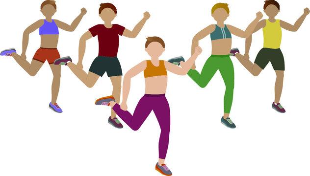 Group doing hip-hop exercises - illustration