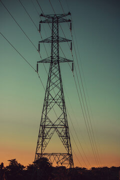 Power tower at sunset with beatiful sky. Concept Image.
