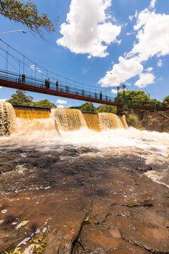 Waterfall at Brotas City, São Paulo - Brazil. Space for text