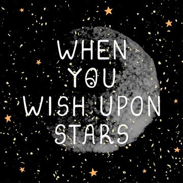 Wish upon stars - fun hand drawn nursery poster with lettering