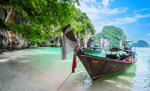 Long Tail Boats at Lading Island or Paradise Island in Krabi, Thailand.