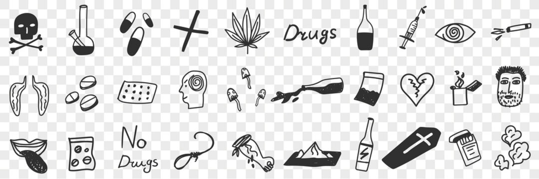 Danger of drugs doodle set. Collection of hand drawn drugs pills lungs alcohol grass bottles addiction symbols poison coffins suicide human brain mushrooms isolated on transparent background