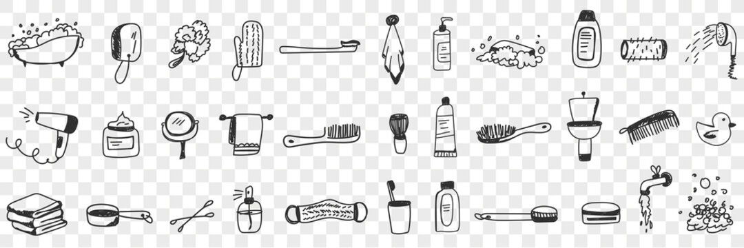 Cosmetics and tools for bath doodle set. Collection of hand drawn bathroom brush fan towel shampoo cream toothbrush toothpaste cosmetics shower for hygiene isolated on transparent background