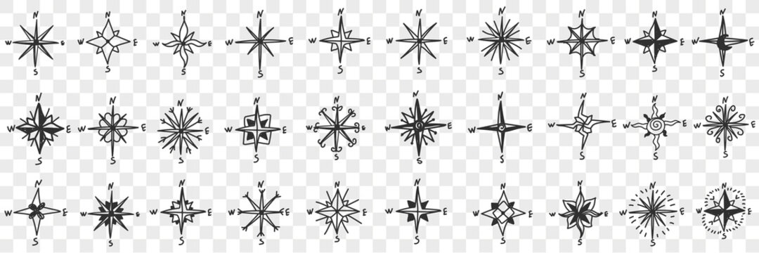 Cardinal points on compass doodle set. Collection of hand drawn patterns of north south west and east showing cardinal points for orienteering with compass isolated on transparent background