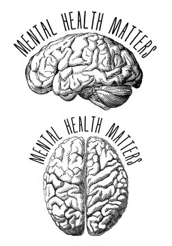 Mental health matters, human brain, vector illustration