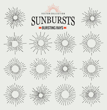 Sunbursts collection of trendy hand drawn retro rays. Sunset, sunrise and radial fireworks symbol. Design elements. Vintage sunbursts in black color
