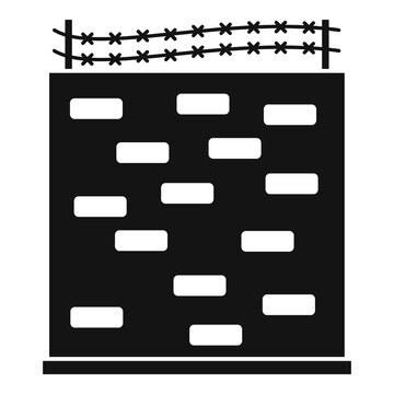 Prison building wall icon. Simple illustration of prison building wall vector icon for web design isolated on white background