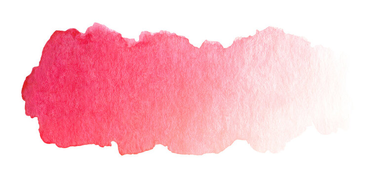 Abstract red watercolor brush stroke with stains and paper texture