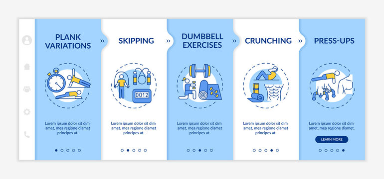 At-home physical training session onboarding vector template. Dumbbell exercises. Press-ups, jumping, plank. Responsive mobile website with icons. Webpage walkthrough step screens. RGB color concept