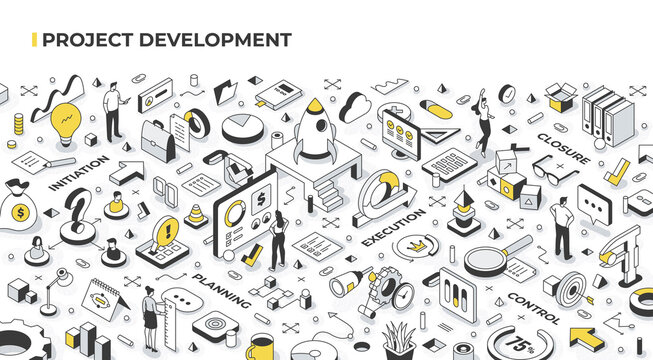 Project management and development concept. People launch startups, set goals, organize and coordinate resources, accomplish objectives. Agile management and business success. Isometric illustration