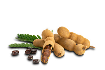 Fototapete - Pile of tamarind with seeds and leaves on white background with clipping path.