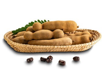 Fototapete - Pile of tamarind in a bamboo tray with seedas isolated on white background with clipping path.