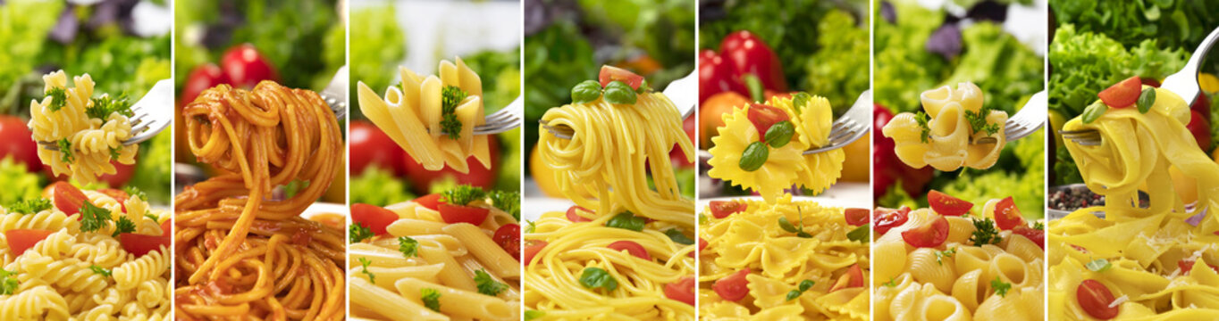 Italian pasta collection, different types of pasta on fork