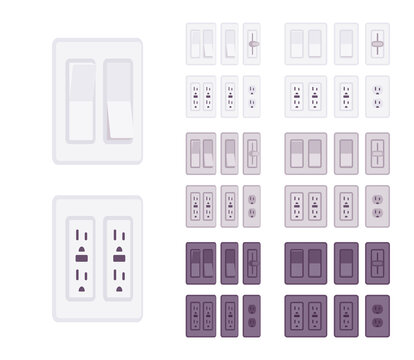 USA, Canada socket, wall light switch with wallplate set. American standard power special electric elements. Vector flat style cartoon illustration isolated, white background, different colors, view