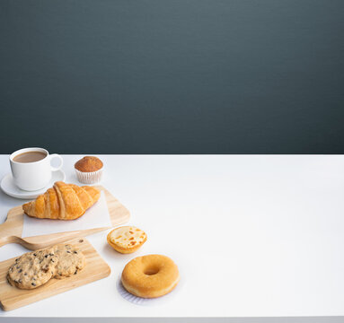 Set of breakfast food or bakery and coffee on table kitchen background.cooking and eating