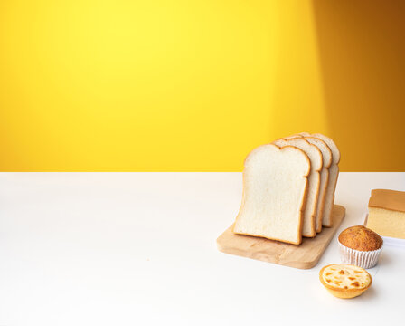 Set of breakfast food or bakery,cake on table kitchen background.cooking and eating