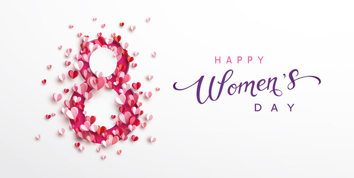 Women's Day greeting card or banner with pink cut eight number and flying paper hearts. Vector 8 March international holiday poster template