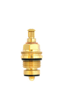 Threaded brass collar tap gland half inch with 8mm spline used to shut water flow off in plumbing tap systems on white background.