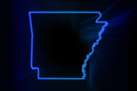 Glowing Map of Arkansas, modern blue outline map