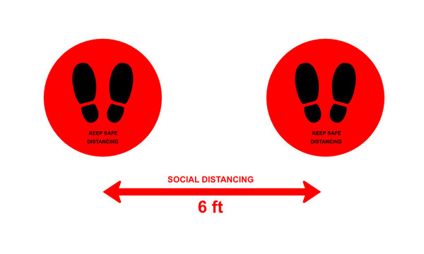 Please keep your distance 6 feet or 2 meter vector sign, Social distancing concept