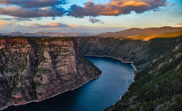 View from Canyon Rim trail in Flaming Gorge Utah National Park of Green River high angle aerial overlook