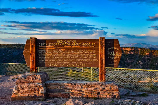 """USA, UTAH - MAY 03, 2018: - information sign """"Red Canyon. Ashley National Forest"""" in Utah, US"""