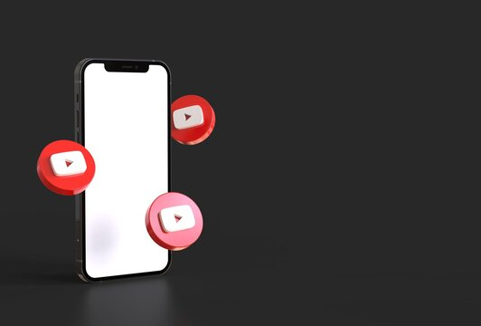 Smartphone mockup with youtube icons in realistic 3D rendering. Blank screen template
