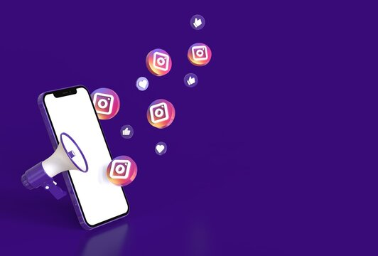 Smartphone mcokup with megaphone, instagram icons, like and heart symbol in realistic 3D rendering. Social media marketing concept. Blank screen template