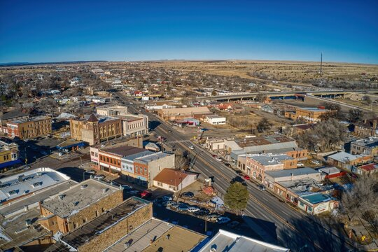 Aerial View of the College Town of Las Vegas, New Mexico in Winter