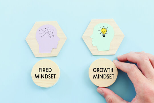 concept idea of choosing the right strategy. Fixed mindset vs Growth mindset.