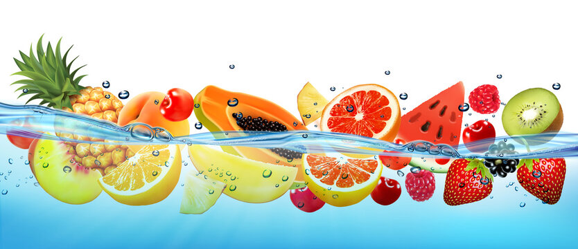 Fresh papaya and different berries and fruit in transparent water and oxygen bubbles. Vector illustration
