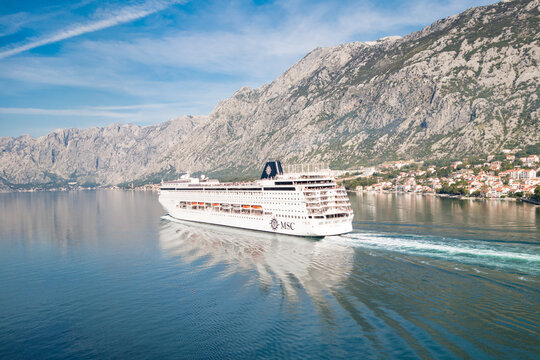 KOTOR, Montenegro - OCTOBER 31 2013: The magnificent Armonia cruise ship of the MSC Cruises company in the wonderful Bay of Kotor in Montenegro