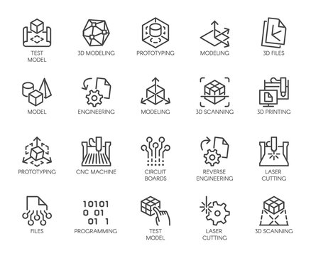 Premium Icons Pack on Engineering, Product Development and Creation. Such Line Signs as Prototyping, 3D Modeling, 3D Scanning. Vector Icons Set for Web and App in Outline Editable Stroke.