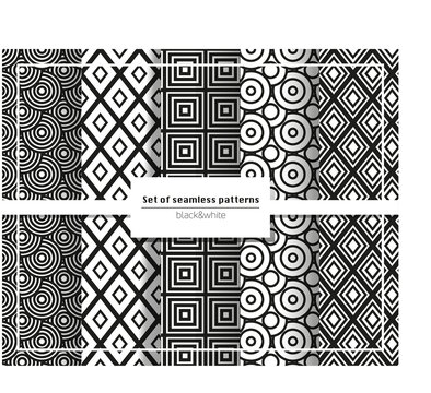 a set of five simple geometric black and white seamless patterns
