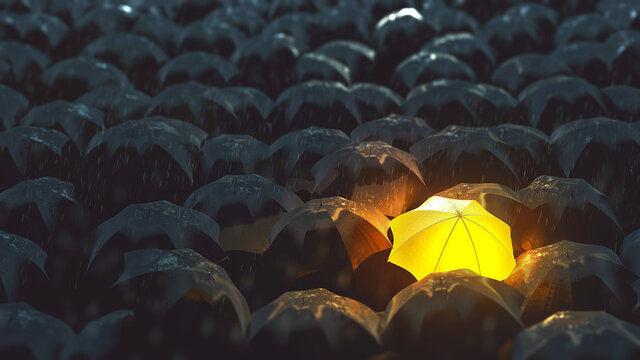 Bright Umbrella in Darkness