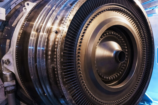 A rotor disc with blades of a turbojet gas turbine engine, inside view.
