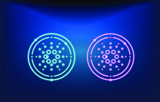 Cardano ADA vector outline icon. blue and pink neon Cardano outline icon.Trendy neon lighting for logo adaptation design web site mobile app, EPS.