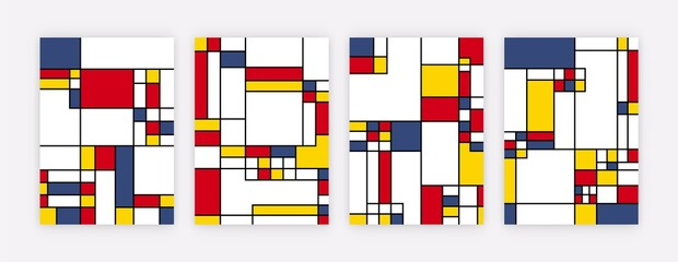 Abstract geometric art posters. Mondrian inspired graphic posters, contemporary canvas for wall decor. Modern vector illustration