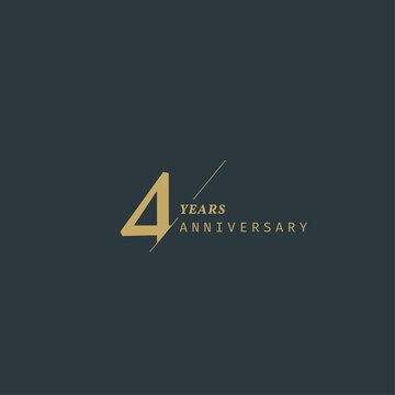 4 years anniversary logotype with modern minimalism style. Vector Template Design Illustration.