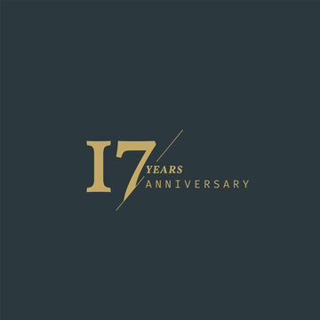 17 years anniversary logotype with modern minimalism style. Vector Template Design Illustration.