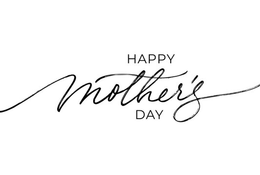 Happy Mother's Day elegant lettering with swooshes. Calligraphy vector text in linear style. Modern line calligraphy isolated on white background. Black ink illustration. Holiday lettering.