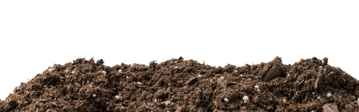 All Purpose In Ground Soil performance organics mix. Natural Ground Ingredients for Gardening. Indoor or Outdoor Gardening. White isolated background.