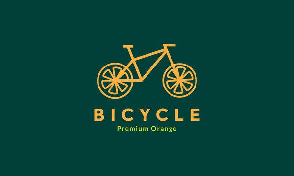 Orange fruit with bicycle line logo design vector icon symbol illustration