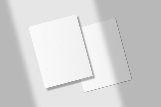 Realistic blank US letter flyer brochure for mockup. Paper or poster illustration with shadow overlay. 3D Render.