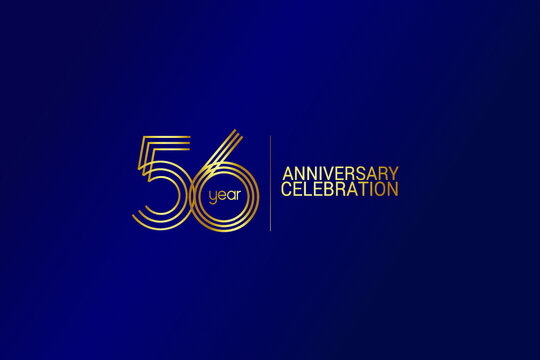 56 year anniversary celebration Gold Line. logotype isolated on Blue background for celebration, invitation card, and greeting card-Vector