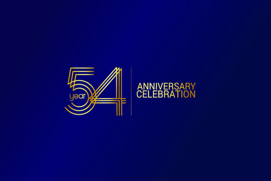 54 year anniversary celebration Gold Line. logotype isolated on Blue background for celebration, invitation card, and greeting card-Vector