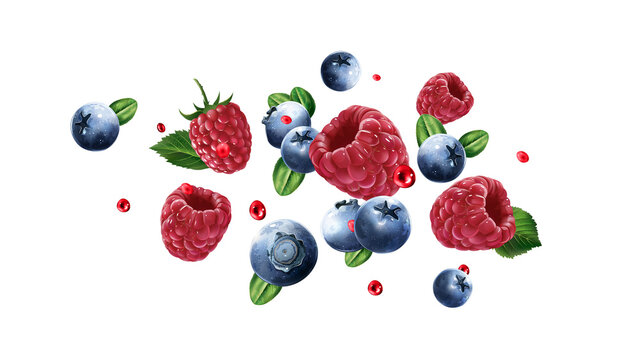 Raspberries and blueberries are flying with juice drops.