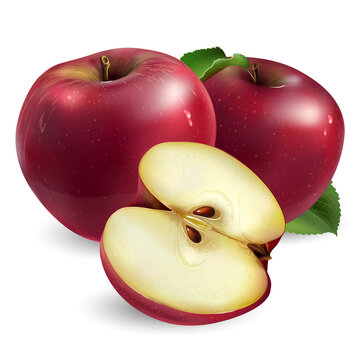 Two red apples and a half on white background.