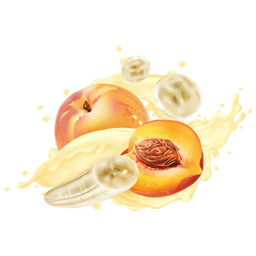 Peaches and bananas in splashes of yogurt or milkshake.